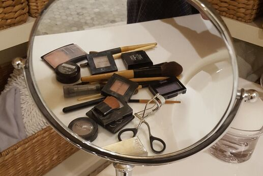 cosmetics and a mirror